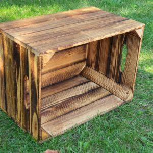 Skrzynka drewniana nowa jedynka opalana 41×29,5x25cm z uchwytem