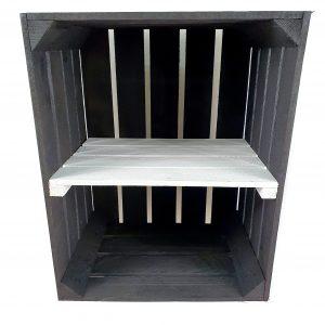 Skrzynka nowa drewniana jedynka czarna z białą półką