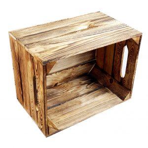 Skrzynka drewniana nowa jedynka opalana 39x28x25,5 cm z uchwytem