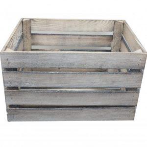 Skrzynka drewniana SZARA opalana/bielona jedynka 50x40x30 cm