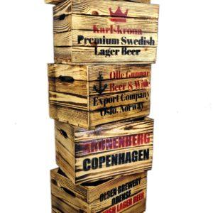 Skrzynka drewniana opalana po piwie Skandynawia LOFT