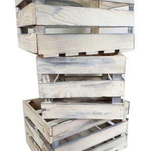 Skrzynka drewniana SZARA opalana/bielona jedynka 39 x 29 x 24 cm