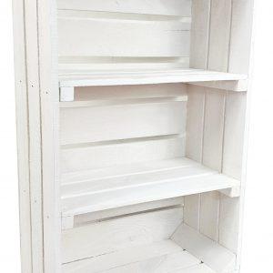 """Skrzynka drewniana nowa biała """"uniwersalka"""" 60x40x20 cm z dwoma półkami"""