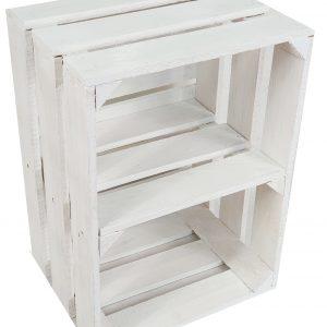 Skrzynka drewniana nowa biała 39X29X24cm cm z półką