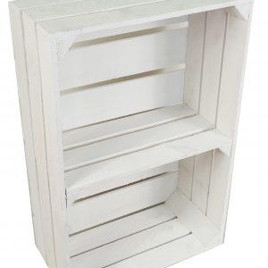 """Skrzynka drewniana nowa biała """"uniwersalka"""" 60x40x20 cm z półką"""