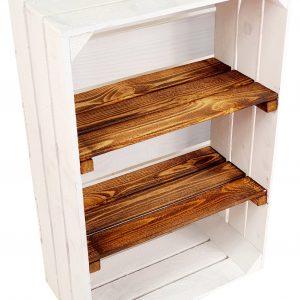 """Skrzynka drewniana nowa biała """"uniwersalka"""" 60x40x20 cm z dwoma półkami opalanymi"""