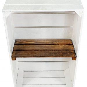 """Skrzynka drewniana nowa biała """"uniwersalka"""" 60x40x20 cm z półką opalaną"""