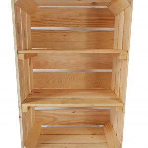 """Skrzynka drewniana nowa """"uniwersalka"""" 60x40x20 cm z dwoma półkami"""