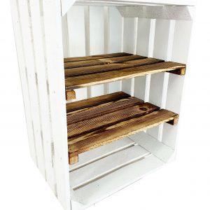 Skrzynka biała z dwoma krótkimi półkami opalanymi 50 x 40 x 30 cm