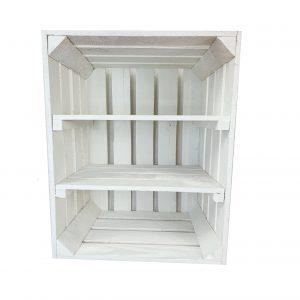 Skrzynka biała z dwoma krótki półkami 50 x 40 x 30 cm