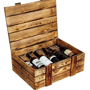 Skrzynka drewniana opalana na 12 win, kuferek z wypełnieniem