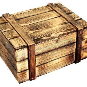 Skrzynka drewniana opalana na 6 win, kuferek z wypełnieniem