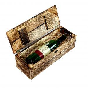 Skrzynka drewniana opalana na 1 wino z wypełnieniem