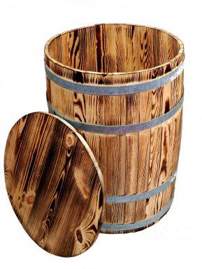 Beczka drewniana opalana mała 58/42 cm z deklem