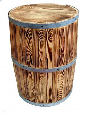 """Beczka drewniana mała opalana 58/42 cm """"Barek"""" otwarta"""