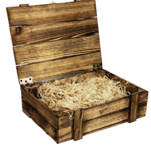 Skrzynka drewniana opalana na 3 wina, kuferek z wypełnieniem