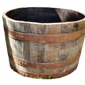Donica z dębowej beczki po whisky (Obręcze z patyną)