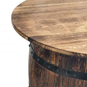 Stolik z dębowej beczki po whisky okrągły PREMIUM